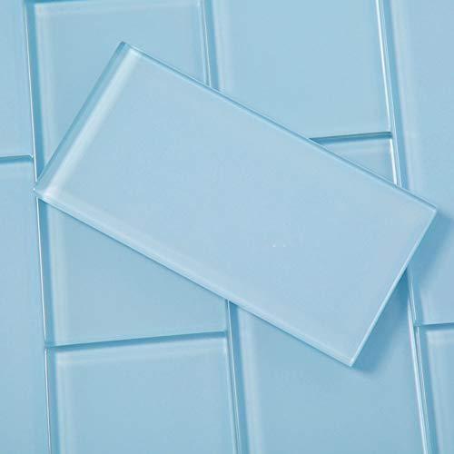 (Diflart 3x6 Inch Blue Glass Subway Tiles Backsplash for Kitchen Bathroom Pack of 40)