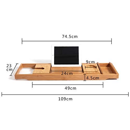 Bathtub Trays bath caddy bath tray bath board Bamboo bathtub frame bathroom bath telescopic long bathroom multi-function rack(bathtub pillow) ( Color : Natural+White , Size : 74.523+3223cm ) by ZhaoLiRuShop (Image #6)