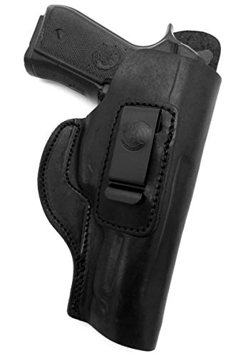 HOLSTERMART USA Right Hand IWB Inside Pants Clip-On Concealment Holster in Black Leather for Nonrail Beretta 92FS 96, Taurus PT92 PT99