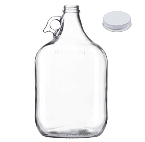 One Gallon Carboy Cider Jug Growler, Clear Glass With Metal Cap/Liner, Made in (Cider Jug)