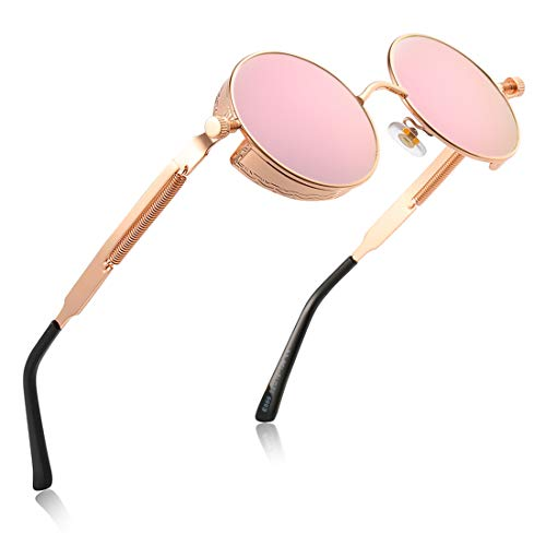 - Retro Round Gothic Circle Steampunk Polarized Sunglasses Metal Alloy Polarized Sun glasses for Men Women (Rose gold Frame Pink Lens, UNPOLARIZED LENS)