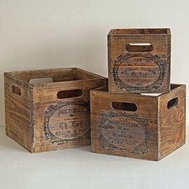 Set Of 3 Nesting Vintage French Style Wooden Storage Boxes Crates