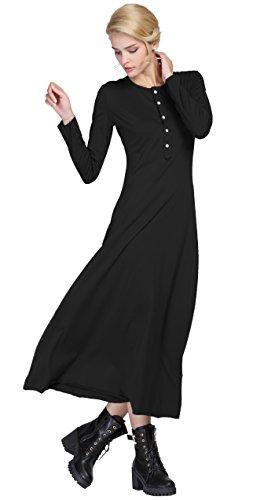 Urban CoCo Women's Casual Long Dress Long Sleeve Button Down Dress (Small, Black)