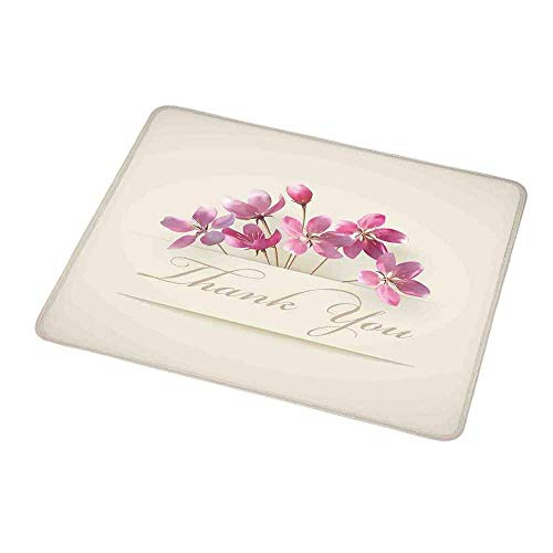 Mouse Pad Unique Custom Cherry Blossoms,Spring Flowers Floral Thank You for Anniversary and Teachers Print,Ivory Pale Pink,Mousepad Great for Laptop,Computer 9.8