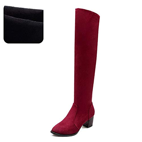 HAOLIEQUAN Plus Größe 34-44 Frauen High Heel Stiefel Spitz Schuhe Frauen Overknee Stiefel Winter Schuhe Frauen Schuhe