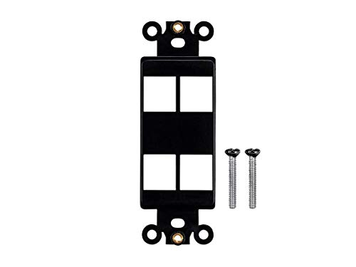 (Monoprice Keystone 4 Hole Decor Insert - Black | for Ethernet Networks Or Home Theater Interconnects Keystones, Wallpalte,)