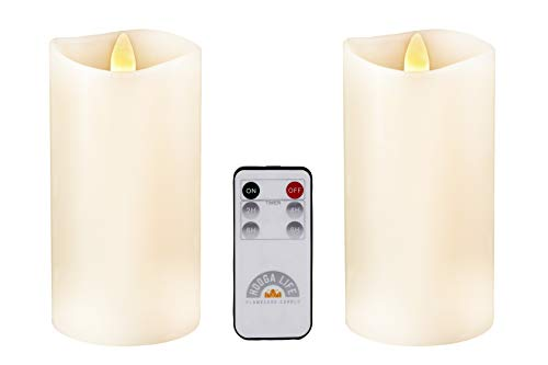 Ivory Flameless Candles Flickering Flame Effect Real Wax, Gift Package 2 Pieces LED Pillar Candles (D 3