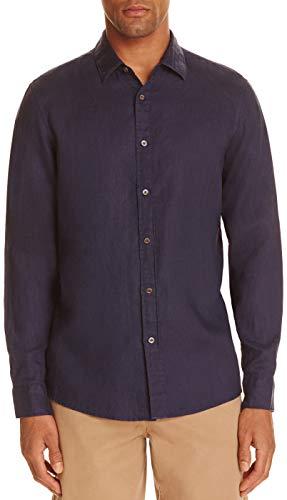 - Michael Kors Men's Dark Blue Linen Regular Fit Long Sleeve Casual Shirt, Blue, XXL