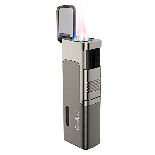 Torch Cigar Lighter Quad Flame Jet Lighter Butane Refillable with Cigar Punch Cutter Grey (No Butane prefilled)