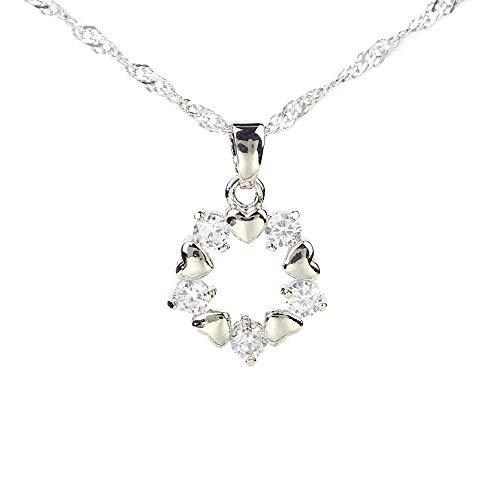 CHOP MALL Cute Korean Circle Stone Love Pendant Nacklace ()