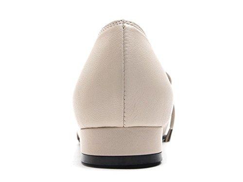 Scarpe Da Donna In Pelle Di Pecora Bianca Karen Scarpe Quadrate Da Uomo Di Mary Jane, Disponibili In Beige Rosso E Beige