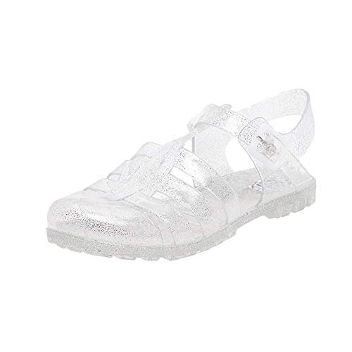 - Hee grand Women Crystal Jelly Sandals Crystal Jelly Shoes Flat Silver US 8