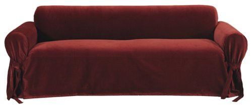 Amazon.com: Classic Slipcovers Solid Velvet Sofa Slipcover, Burgundy: Home  U0026 Kitchen