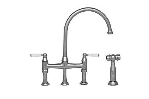 - Whitehaus WHQNBP-34663-C Queenhaus Bridge Faucet with A Long Gooseneck Spout, Porcelain Lever Handles and Solid Brass Side Spray