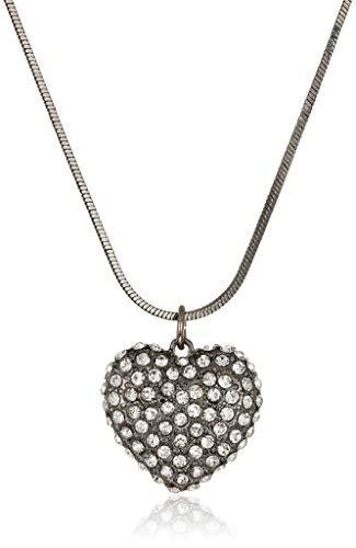 - GUESS Heart Feelings Women's Snake Chain Pendant Necklace, Hematite, One Size