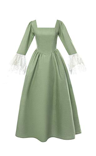ROLECOS Pioneer Dress Prairie Colonial Costume Dot Civil War Reenactment Dress for Women Green S