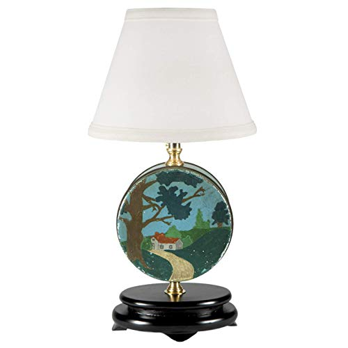 Vintage Folk Art Hand Painted Tin Up-cycled Lamp with New Fabric Lampshade ()