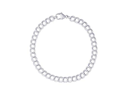 - Verona Jewelers Sterling Silver Double Link Charm Bracelet for Women and Men- Double Curb Link Bracelet Silver Link Bracelet Double Bracelet (8, 7MM)
