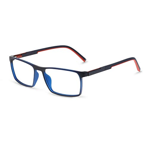 OCCI CHIARI TR90 Men's Glasses Frame Fashion Non Prescription Eyeglasses Rectangular Oversized Eyewear RX (Black+Red ()