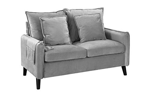 Modern Living Room Brush Microfiber Loveseat Sofa (Light Grey)