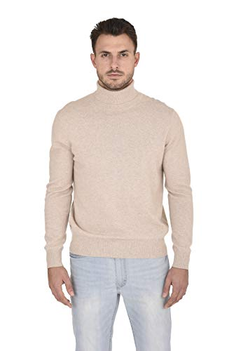 (Cashmeren Men's Wool Cashmere Classic Knit Soft Long Sleeve Turtleneck Pullover Sweater (Beige, Small))