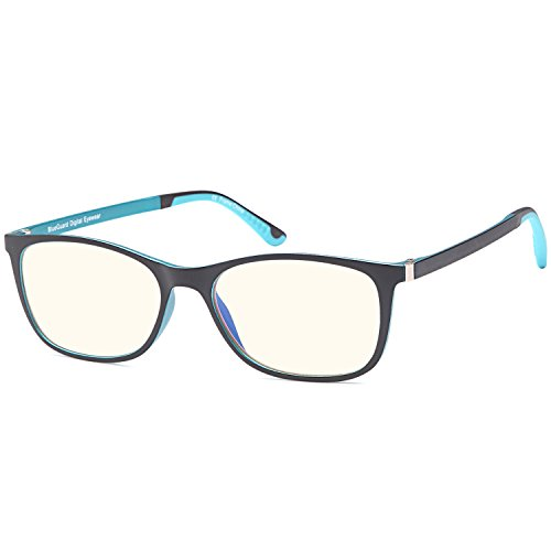 TRUST OPTICS FeatherView Classic Style Anti UV Anti Glare Anti Harmful Blue Light Eyestrain Relieving Computer Reading Glasses Video Gaming Glasses Readers in Blue Black Frame - 0.00x - Glass Blue Frames
