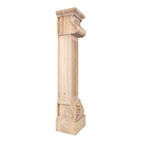 Home Decor FCORE-RW Acanthus Fluted Wood Fireplace / Mantel Corbel with Shell Detail - Rubberwood