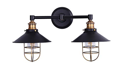 Antique Gold Light Two (Marazzo 2 Light Bathroom Wall Sconce | Antique Brass w/Black Hallway Wall Light with LED Bulbs LL-WL62-7SBK)