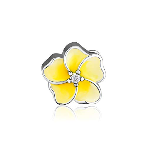 CKK DIY Flower Beads Fits Pandora Bracelet Authentic 925 Sterling Silver Jewelry Yellow Enamel Flower Charms for Women