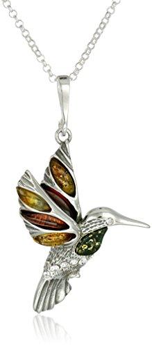 Pendant Hummingbird Sterling (Multicolor Amber Sterling Silver Hummingbird Pendant Necklace, 18