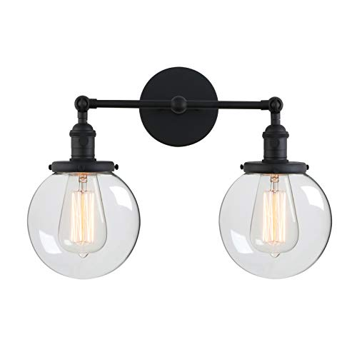 Switched Double Wall Light - Phansthy Glass Wall Sconce 2 Light Industrial Wall Sconce 5.9 Inches Edison Globe Wall Light Shade