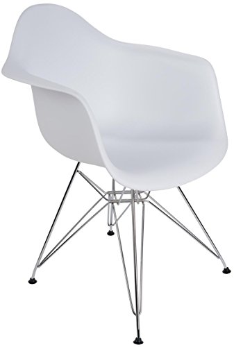 Displays2go, Plastic Molded Office Chair with Bucket Seat, Steel Base – White Finish, Silver Legs (FDC32MTAWH) by Displays2go