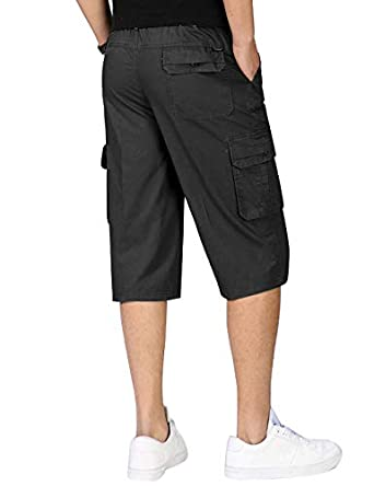 IDEALSANXUN Men/'s Casual Loose-Fit Cotton Cargo Capri with Elastic Waist