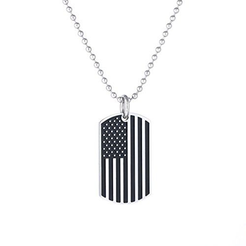 SAKAIPA Patriotic USA Flag Dog Tags Pendant Stainless Steel Necklace for Men Women 23 Inches (Silver-Black)