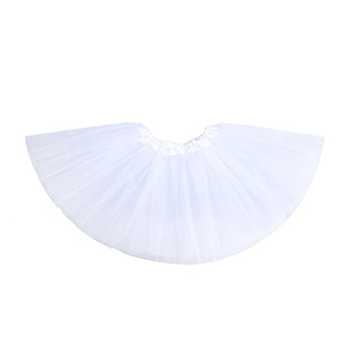 Anleolife 12'' Ballet Tutu Dress Cheap Birthday Tutu Skirt Ballet Dance Mini Skirts(white) ()