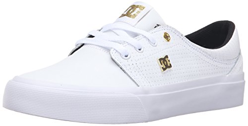 DC Trase LE Skate Shoe, White/Gold, 6 M US