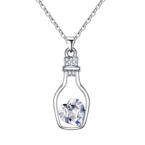 Pendant Stainless Steel for Women Drift Bottle Necklace Austria Crystal Heart Necklace - Love Secrets Bottle Jewelry Girl Mother's Day Birthday Parties (Fittings Lamp For Bottles)