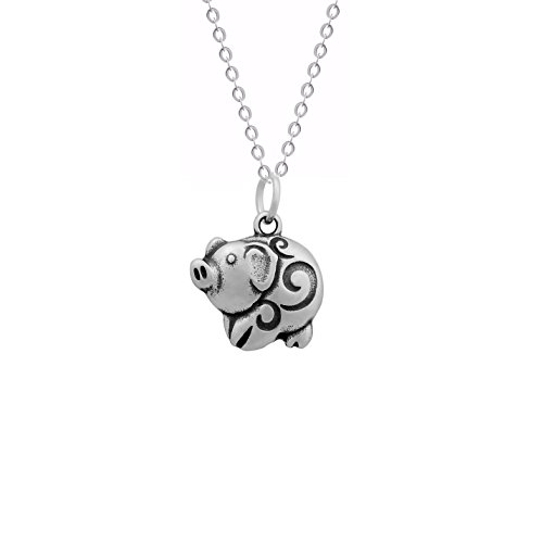 Cute Piggy Pendant with 18 Inch Chain Stainless Steel Pet Series Jewelry Pig Necklace -