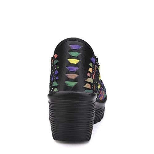 Schuhe Sandaletten Laufschuhe Weave Malloom Stiefel Damen Lack Rocking Wohnungen Freizeit für Schuhe Party Casual Mehrfarbig Mode Blockabsatz Glitzer Damenmode Schuhe Sneaker Elegant qvarUq6T