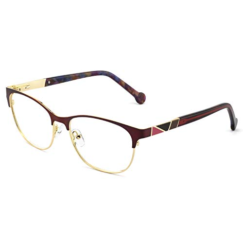OCCI CHIARI Retro Fashion Metal Optical Non-prescription Eyewear Frames For Women (3027-Red/Gold)