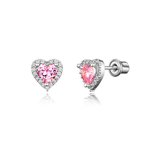 925 Sterling Silver Rhodium Plated Pink Heart Cubic Zirconia Screwback Baby Girls Earrings (Plated Pink Heart)