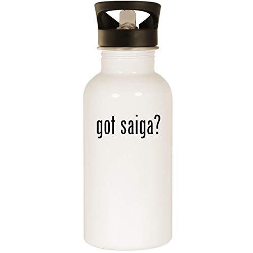 got saiga? - Stainless Steel 20oz Road Ready Water Bottle, White