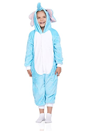 Kids Elephant Pajamas Animal Onesie Kigurumi Plush Soft One Piece Cosplay Costume (Medium, Light (Trajes De Halloween Baratos)