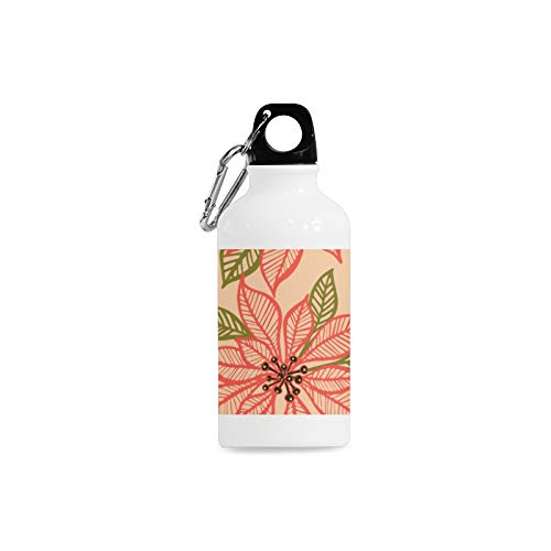 Jnseff Outdoor Simple Fashion Travel Poinsettia Hand-Painted Flowers Print Design Sport Water Bottle Aluminum Stainless Steel Bottle Aluminum Sport Water Bottle