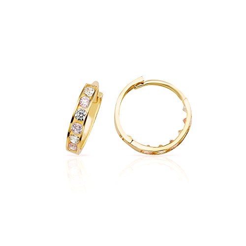 New 2017 Style 14k Yellow Gold White & Pink Small CZ Huggie Hoop Earrings (Gifts That Are Delivered)