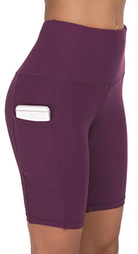 Custer's Night High Waist Out Pocket Yoga Pants Tummy Control Workout Running 4 Way Stretch Yoga Leggings Purple L