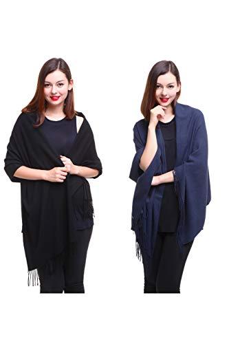 (REEMONDE Large Extra Soft Cashmere Blend Women Pashmina Shawl Wrap Stole Scarf (2 Pack - Black & Denim))