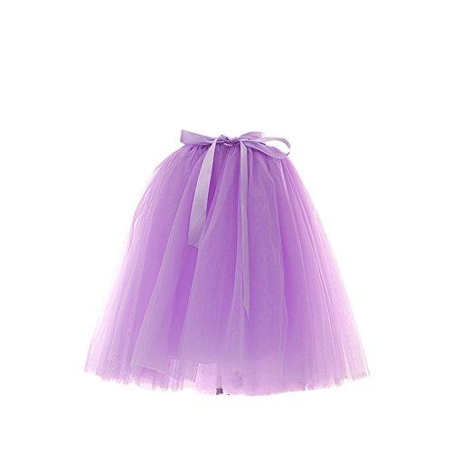 SaiDeng Femme Rtro Style Anne 50 Vintage Jupon Longue En Tulle Elastique Rockabilly Petticoat Tutu Violet Clair