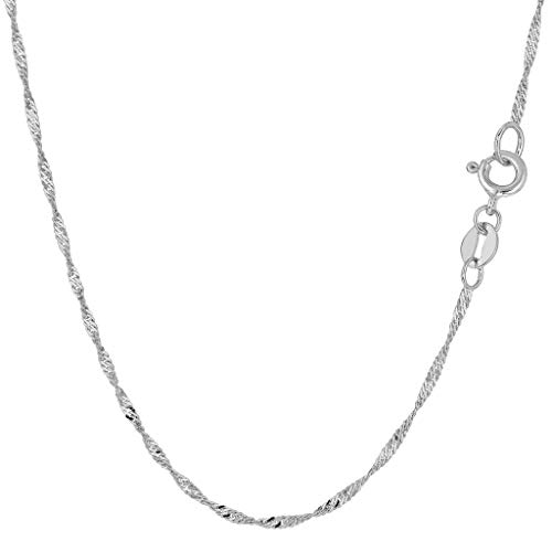 14K Yellow or White Gold 1.5mm Shiny Diamond-Cut Classic Singapore Chain Necklace for Pendants and Charms with Spring-Ring Clasp (10