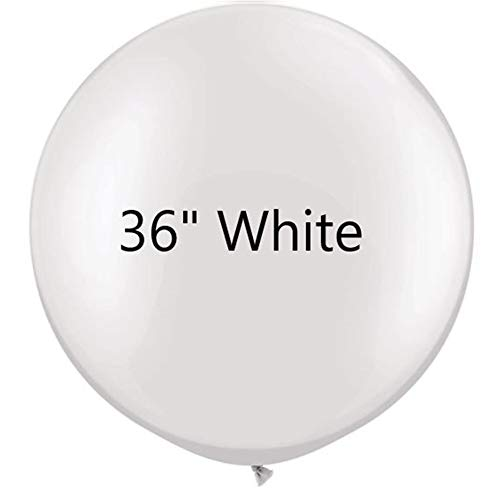 36 inch White Latex Balloons Large Round Balloon for Birthday Wedding Party Decorations,6 pcs ()